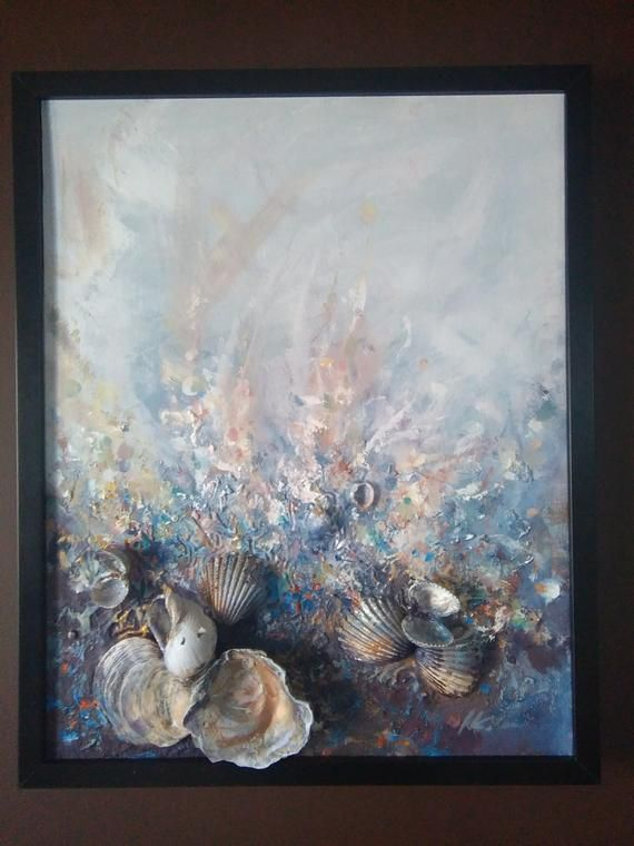 Abstract art Golden sea* Signed Framed Ready to Hang, Mysterious, Textured, Dreamy, Seashells art, Romantic, Surreal, Love * Ocean, Sand