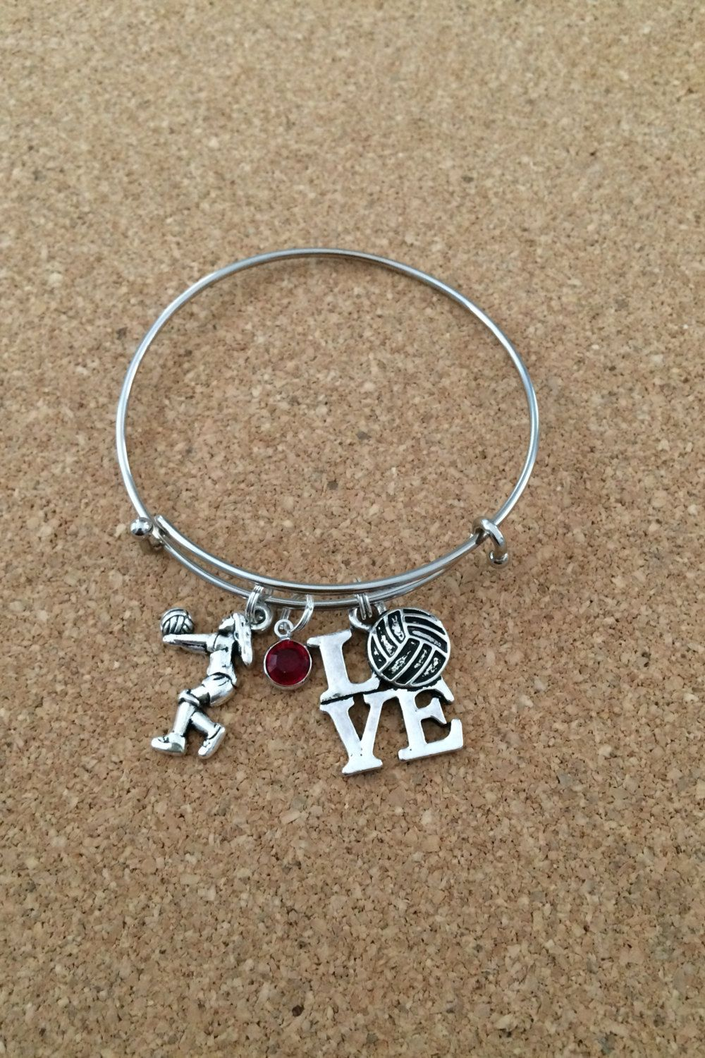 Volleyball Charm Bracelet Silver Plated Bangle A A Style Volleyball Player Swarovski Crystal Dangle I Love Charm Bracelet Silver Bracelets Love Charms