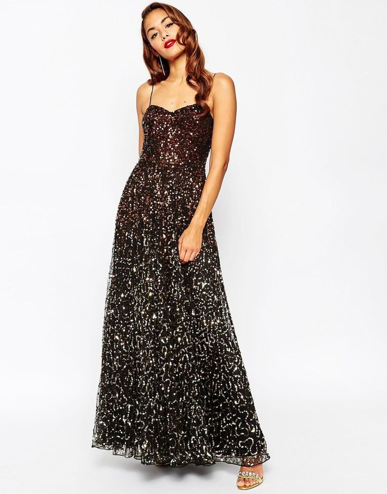 47d8c40570 Asos Red Carpet Scattered Gold Ombre Embellished Maxi Evening Dress