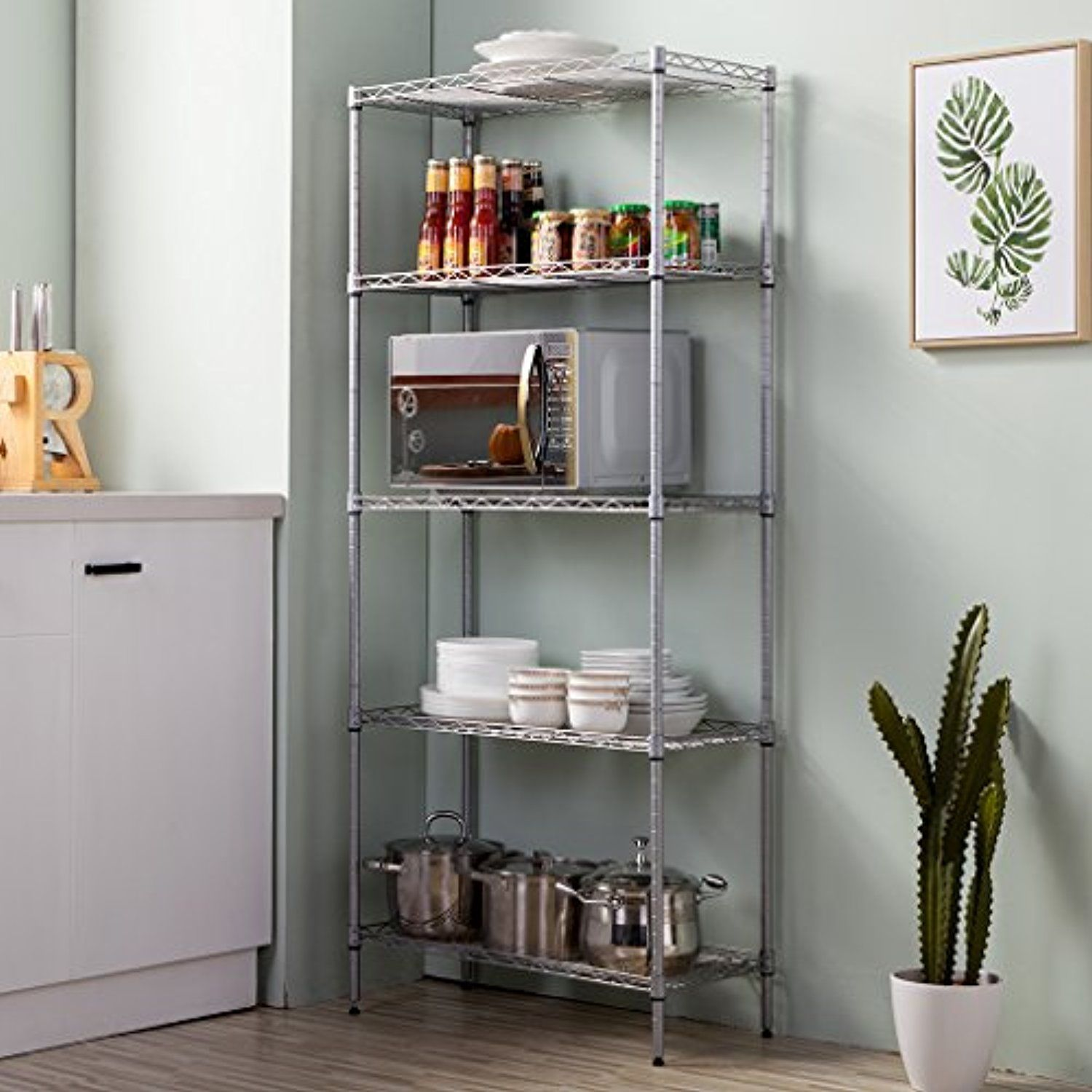 LANGRIA 5 Tier Stand Storage Rack, Kitchen Wire Shelving with Spice ...