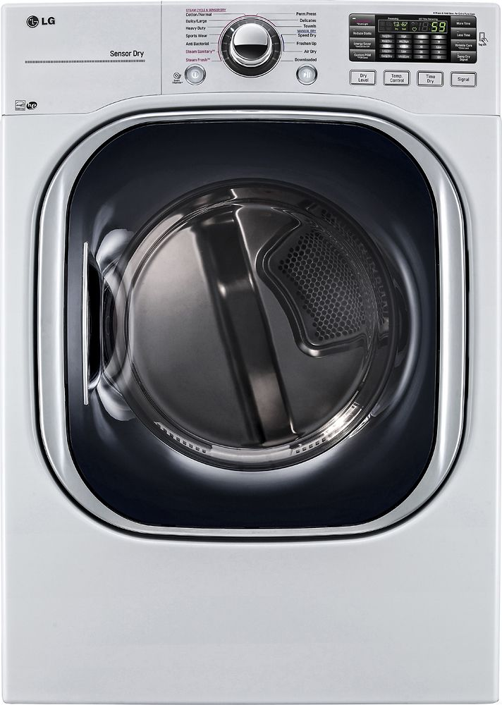 LG - 7.4 Cu. Ft. 14-Cycle Electric Dryer with Steam - White