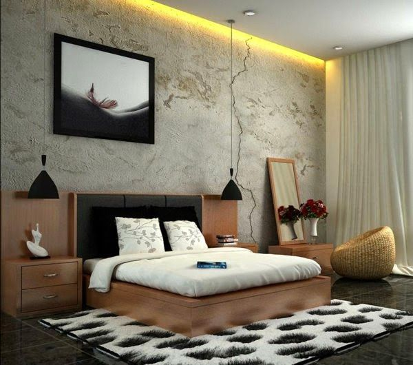 Luxury Bedroom Ceiling Lights: Modern Bedroom With Yellow Ceiling Ribbons