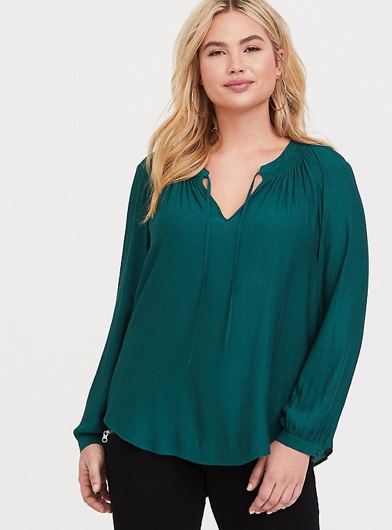 ed39731c1baacf Green Crepe Tie Front Blouse in 2019 | Products | Tie front blouse ...