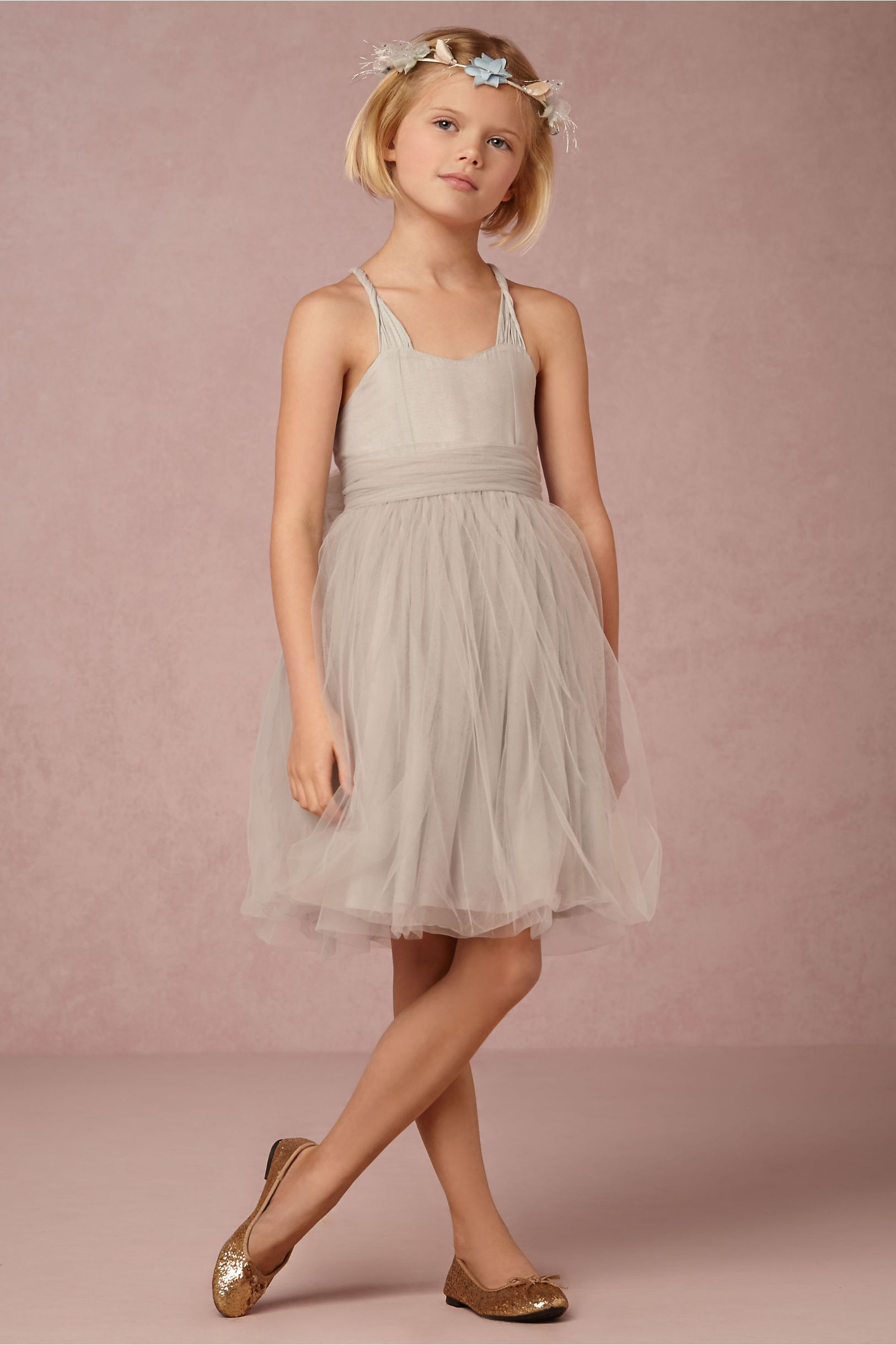 ballerina inspired flower girl dress in grey-blue | the Peach Dress ...