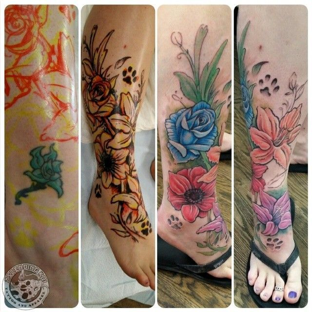 54e8b531b Flower tattoo cover up done by Rob Sweet - this gives you an idea on the  process... - #cover #Flower #idea #process #rob #Sweet #Tattoo