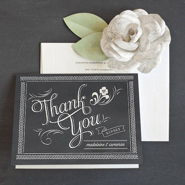 Unique Thank You Card Ideas: Chalkboard Personalized Wedding Thank You Cards