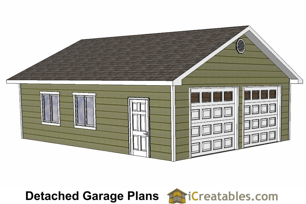 DIY 2 Car Garage Plans 24x26 & 24x24 Garage Plans in