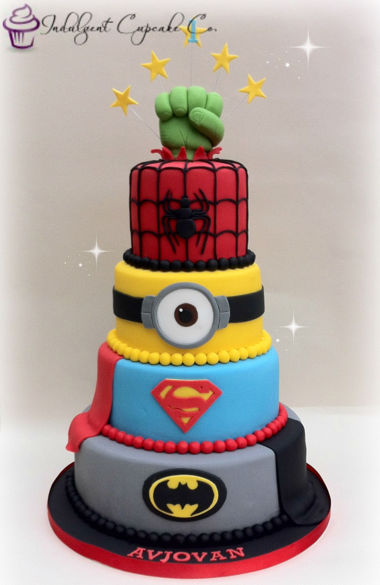 4 tier Superhero/Minion cake....... | Kids birthday ideas ...