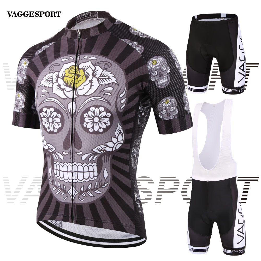 fa4fe0d81 Skeleton new style unique cycling clothes for men compression sublimation  print cycling wear quick dry long zip bike jersey set