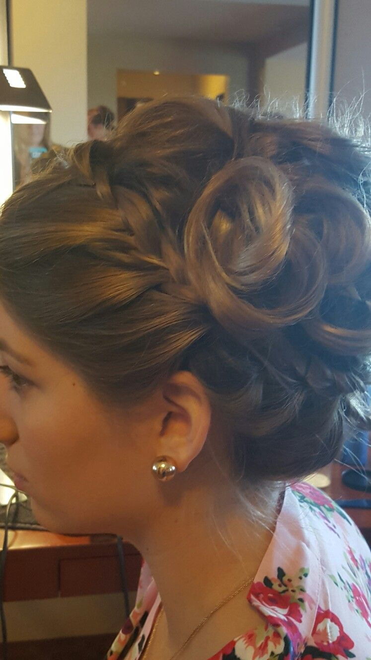 Bridesmaid hair front braid with up swept loose curls  hair Iuve