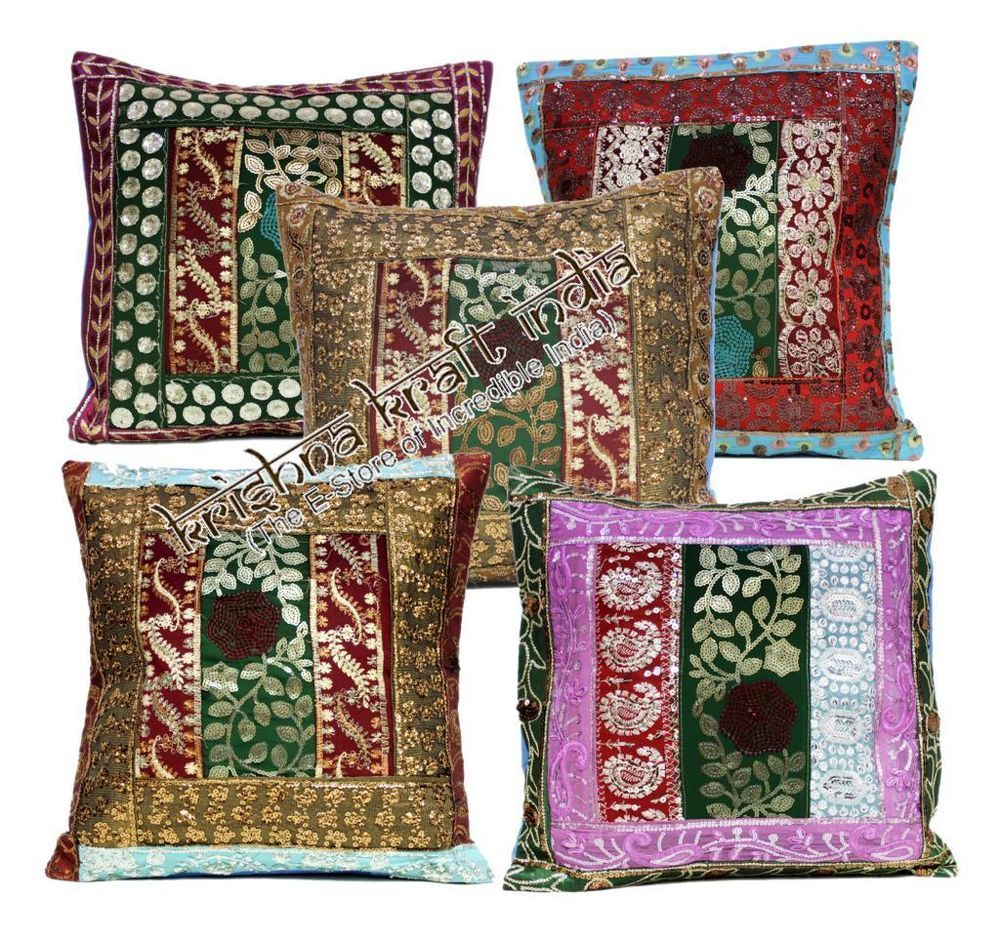 indian traditional ethnic embroidered sequin usa throw pillow
