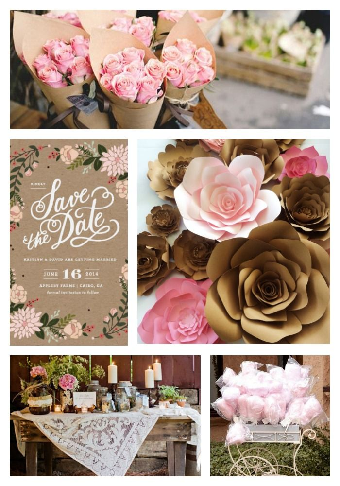 Kraft Paper And Pink Wedding Inspiration Wedding Table Flowers