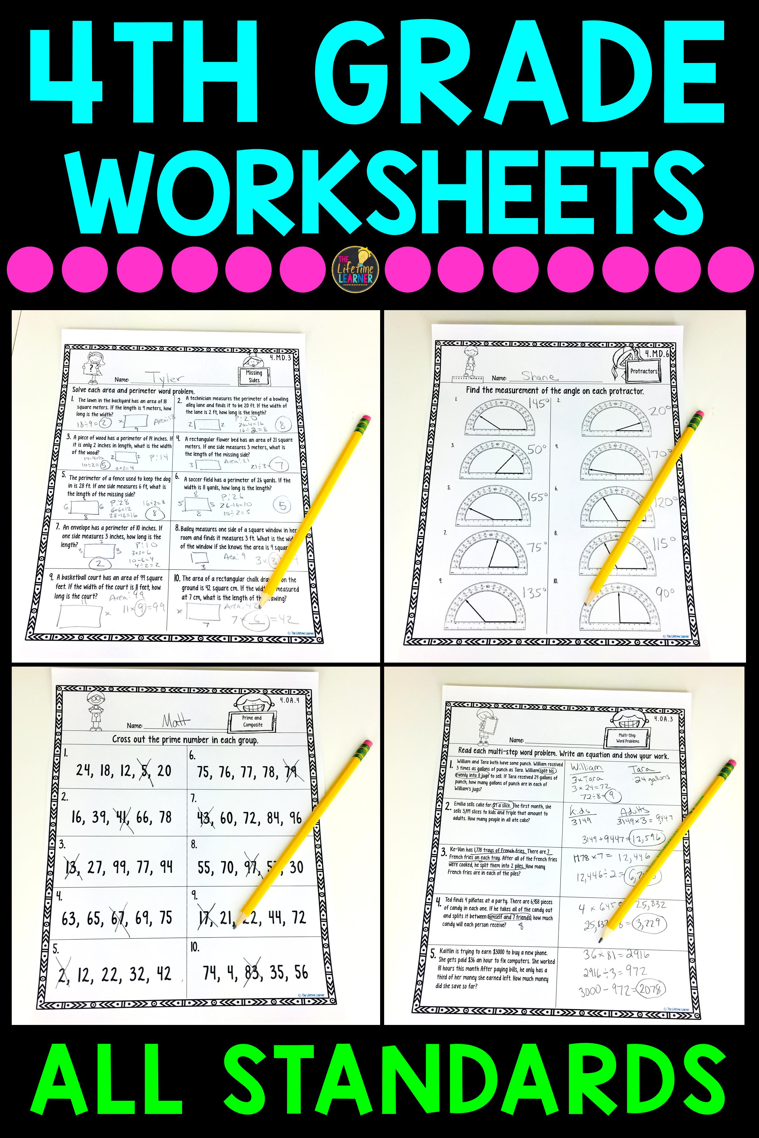 4th Grade Math Worksheets Bundle | Math worksheets, Worksheets and Math