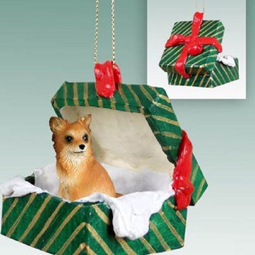Chihuahua Longhaired Dog Green Gift Box Ornament