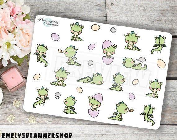 Kawaii Dragon Planner Stickers 2306 by EmelysPlannerShop