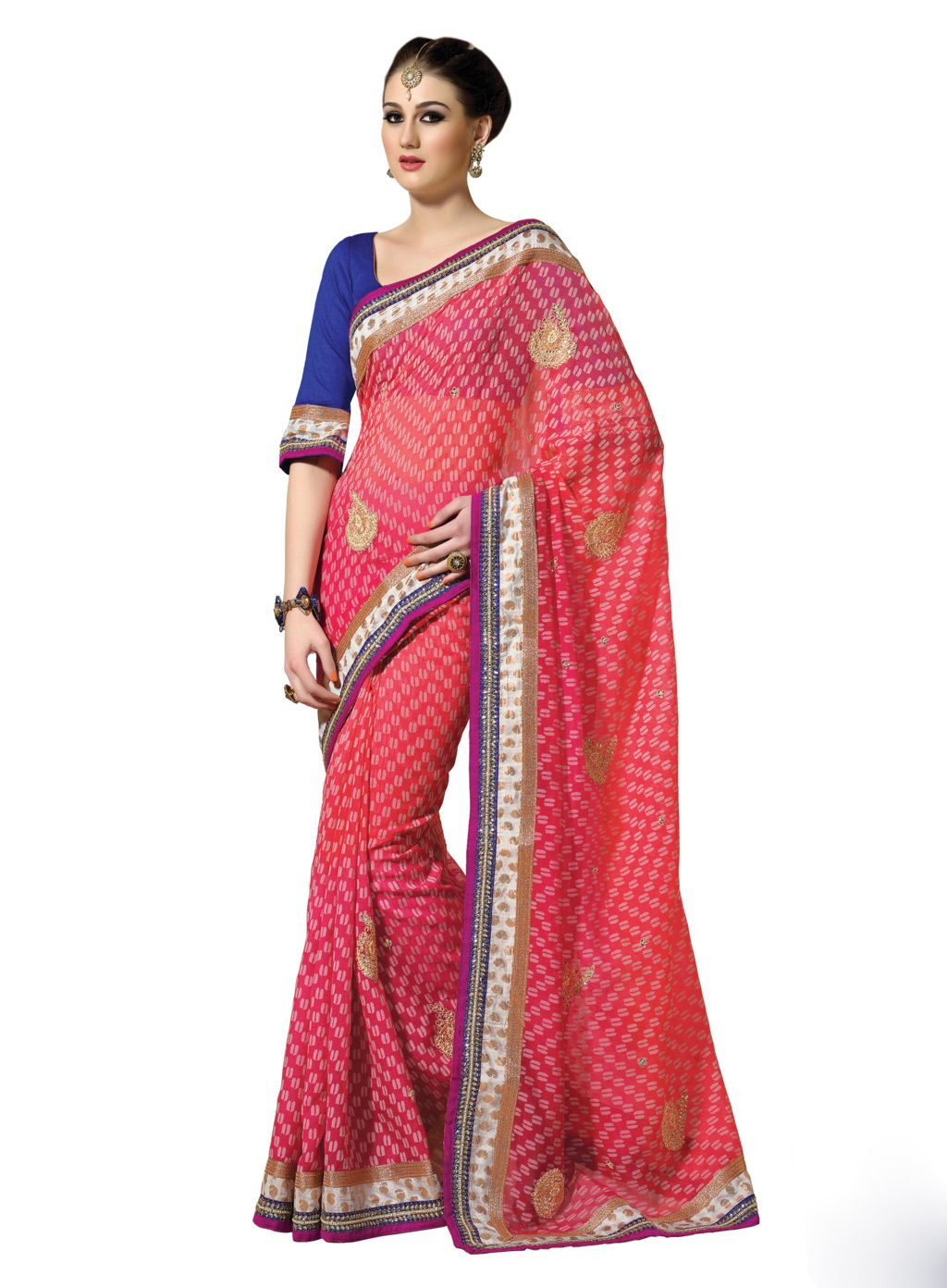 Pink Jute Saree With Blouse 58274 | Party Wear Saree(New Arrival ...