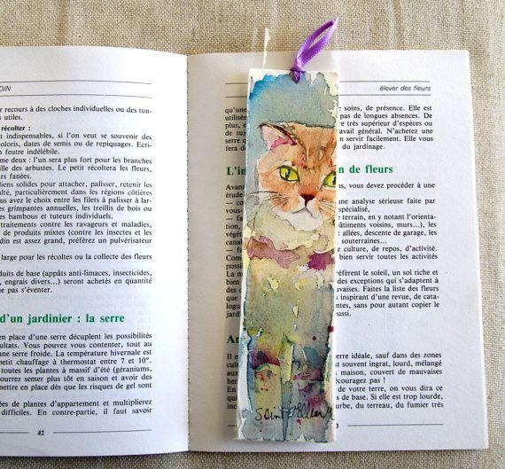 Original watercolor bookmark of a scottish fold cat - bookmark - terre contre mur maison