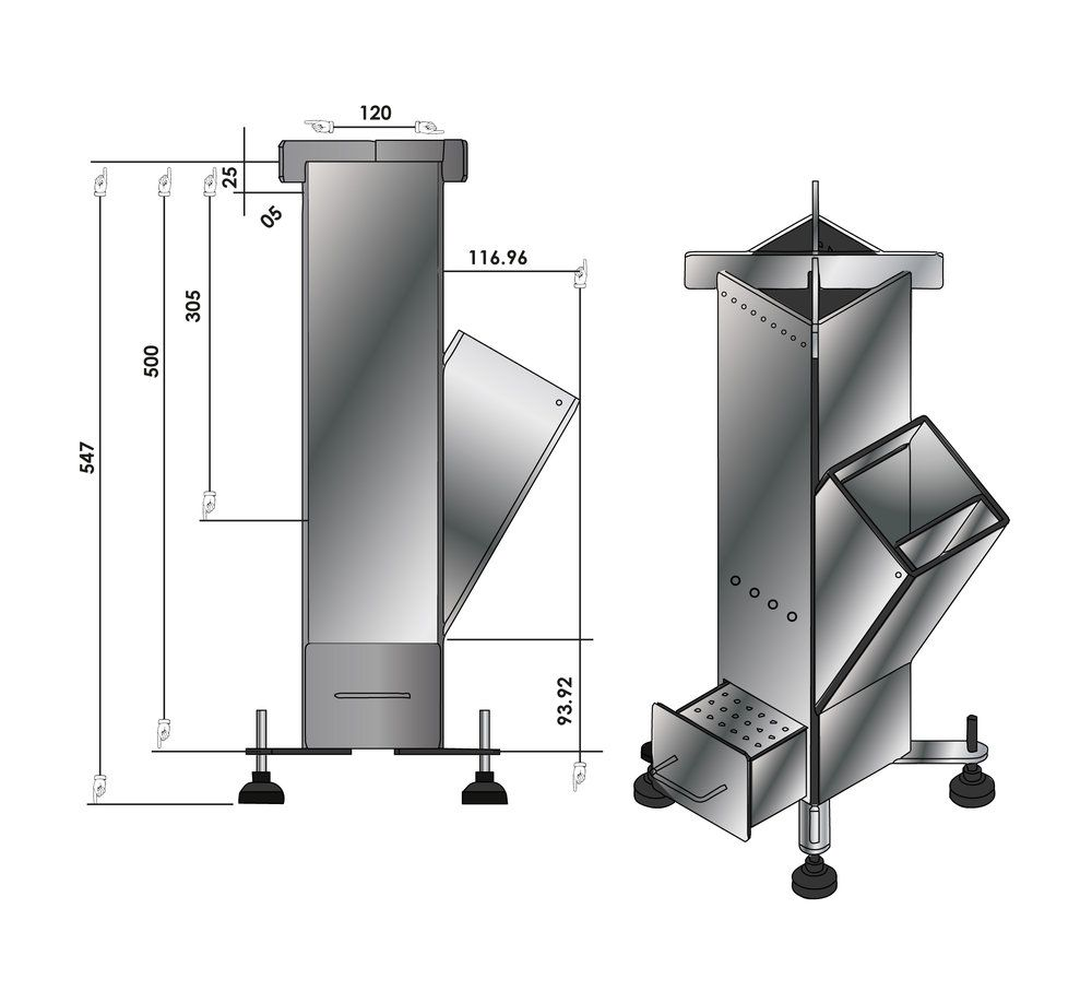 Resultado de imagen para rocket stove dimensions mangal for Planos para fabricar una cocina cohete