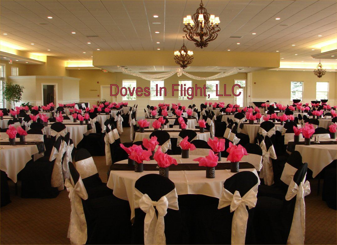 Chair Covers And Table Decorations Black And White Wedding Theme