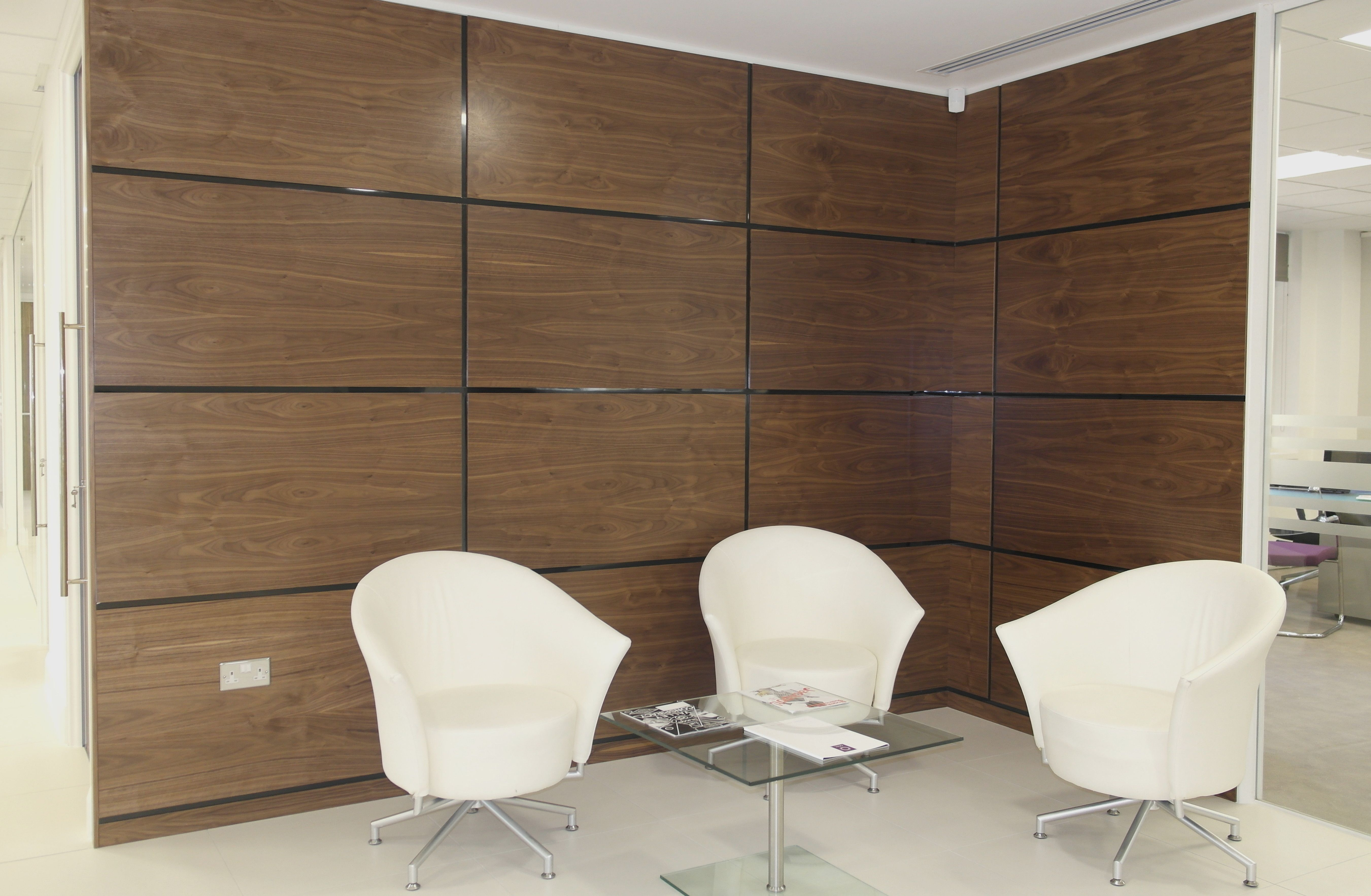 Artizo Walnut Wall Panels With Black High Gloss Shadow Moulding ... for Office Wooden Wall Panelling Designs  104xkb