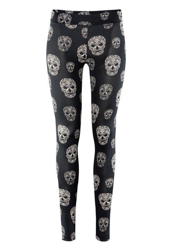 bb5531b258e521 Skull Print Leggings   Prendas old skull   Skull leggings, Black ...