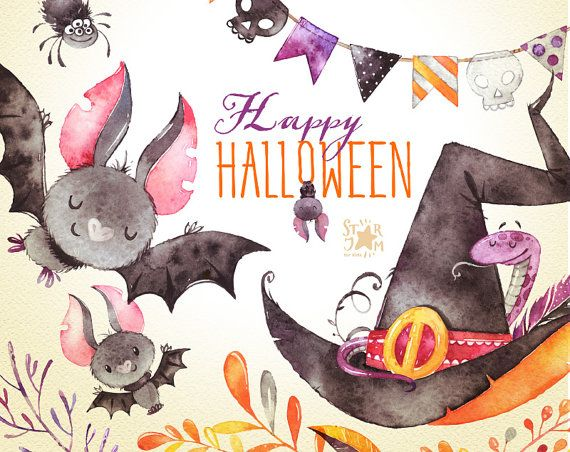 Happy Halloween. Watercolor clipart, bat, witch hat, snake, bunting ...