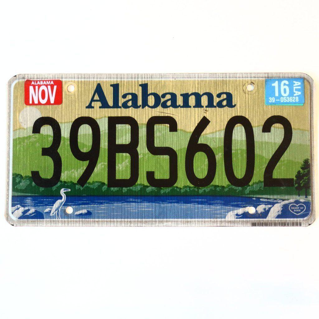 2016 Alabama License Plate 39BS602 Alabama, Plates