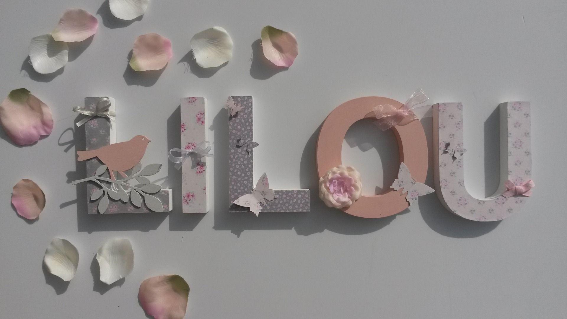 prenom lettres bois poetiques lilou theme tilda rose ruban sur commande d coration pour. Black Bedroom Furniture Sets. Home Design Ideas