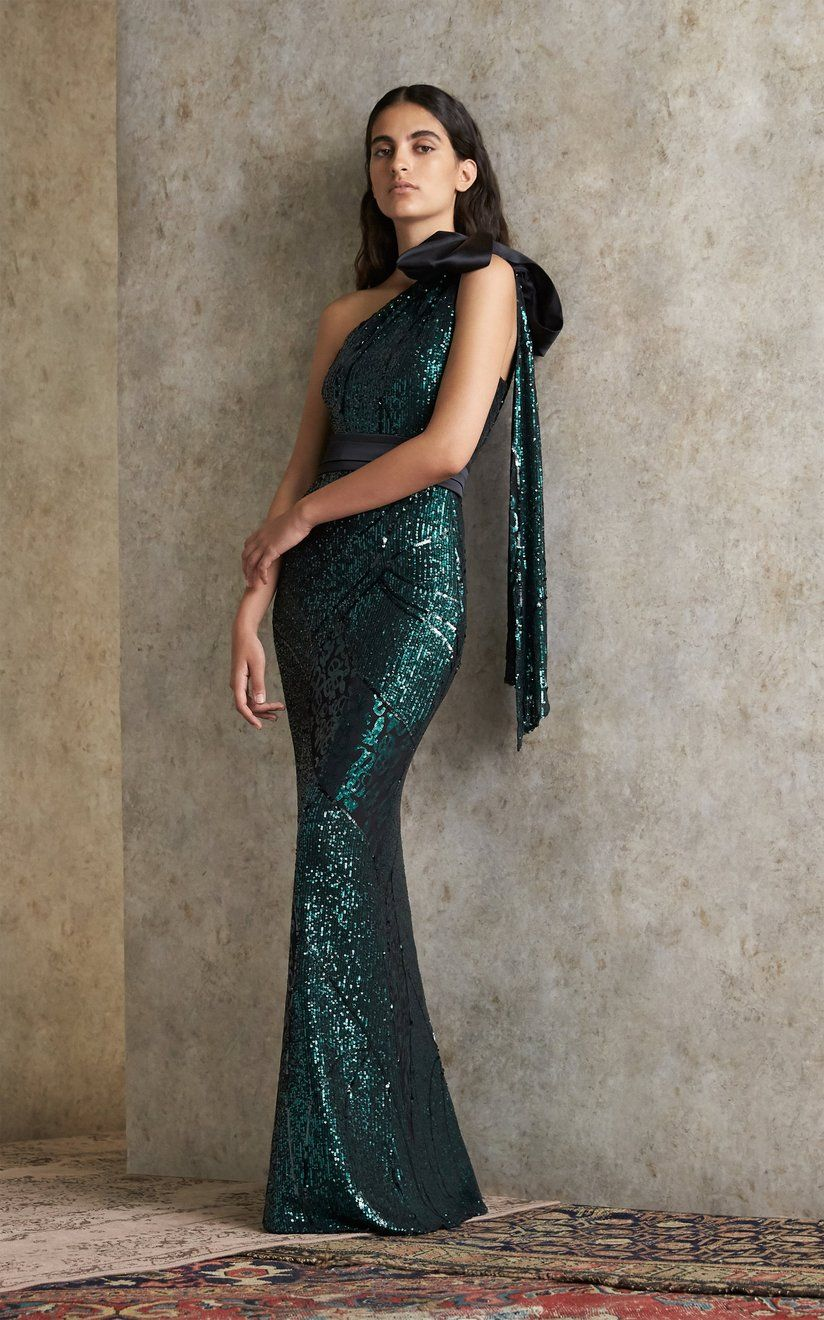Gwendolyn Sequined One-Shoulder Gown by Safiyaa