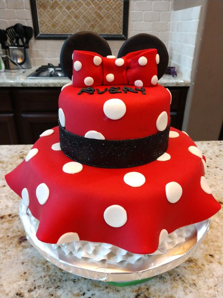 Magnificent Minnie Mouse Dress Birthday Cake With Images Minnie Mouse Funny Birthday Cards Online Overcheapnameinfo