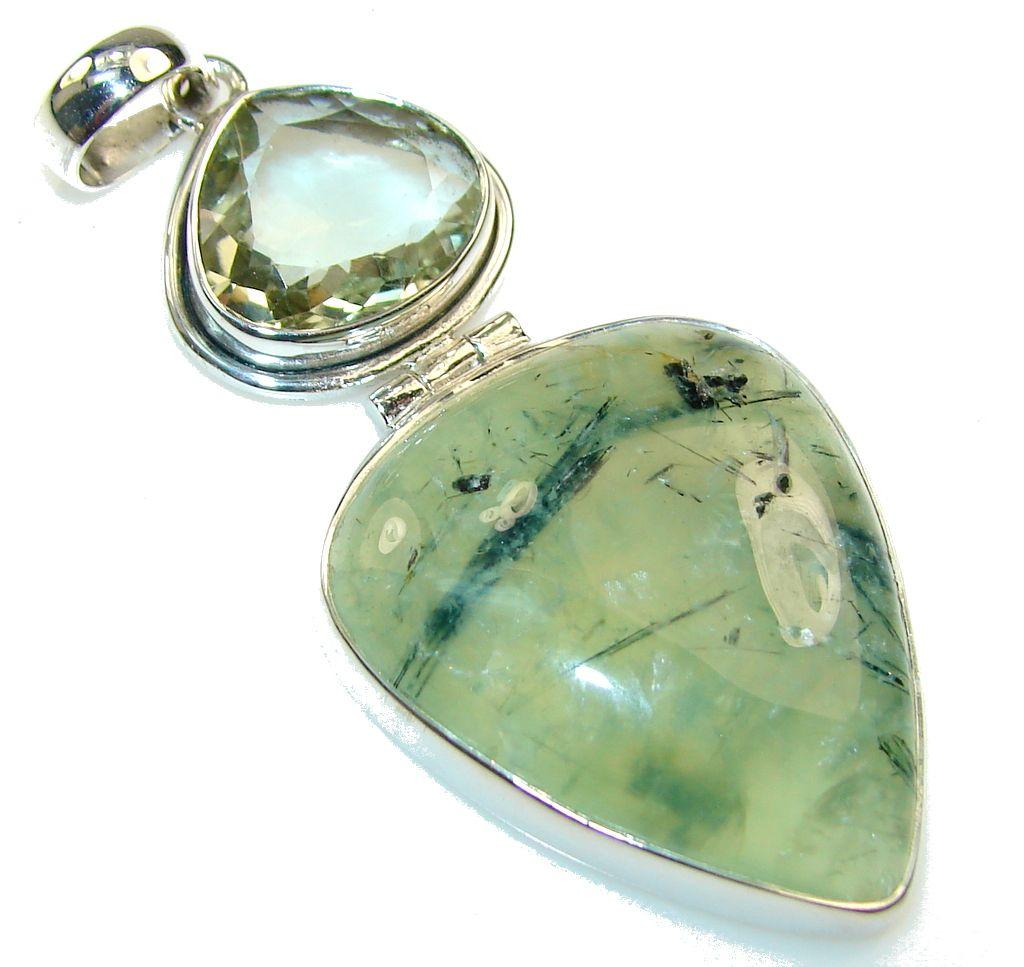 $92.55 Fabulous Green Moss Prehnite Sterling Silver Pendant at www.SilverRushStyle.com #pendant #handmade #jewelry #silver #prehnite