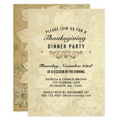 autumn leaves thanksgiving dinner elegant invitation thanksgiving