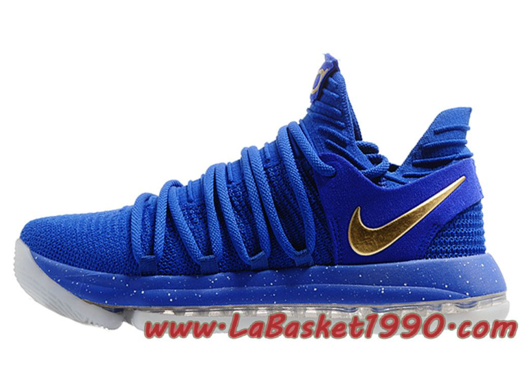 timeless design a936d 08476 Nike Zoom KD 10 EP Chaussures de BasketBall Pas Cher Pour Homme Bleu Or