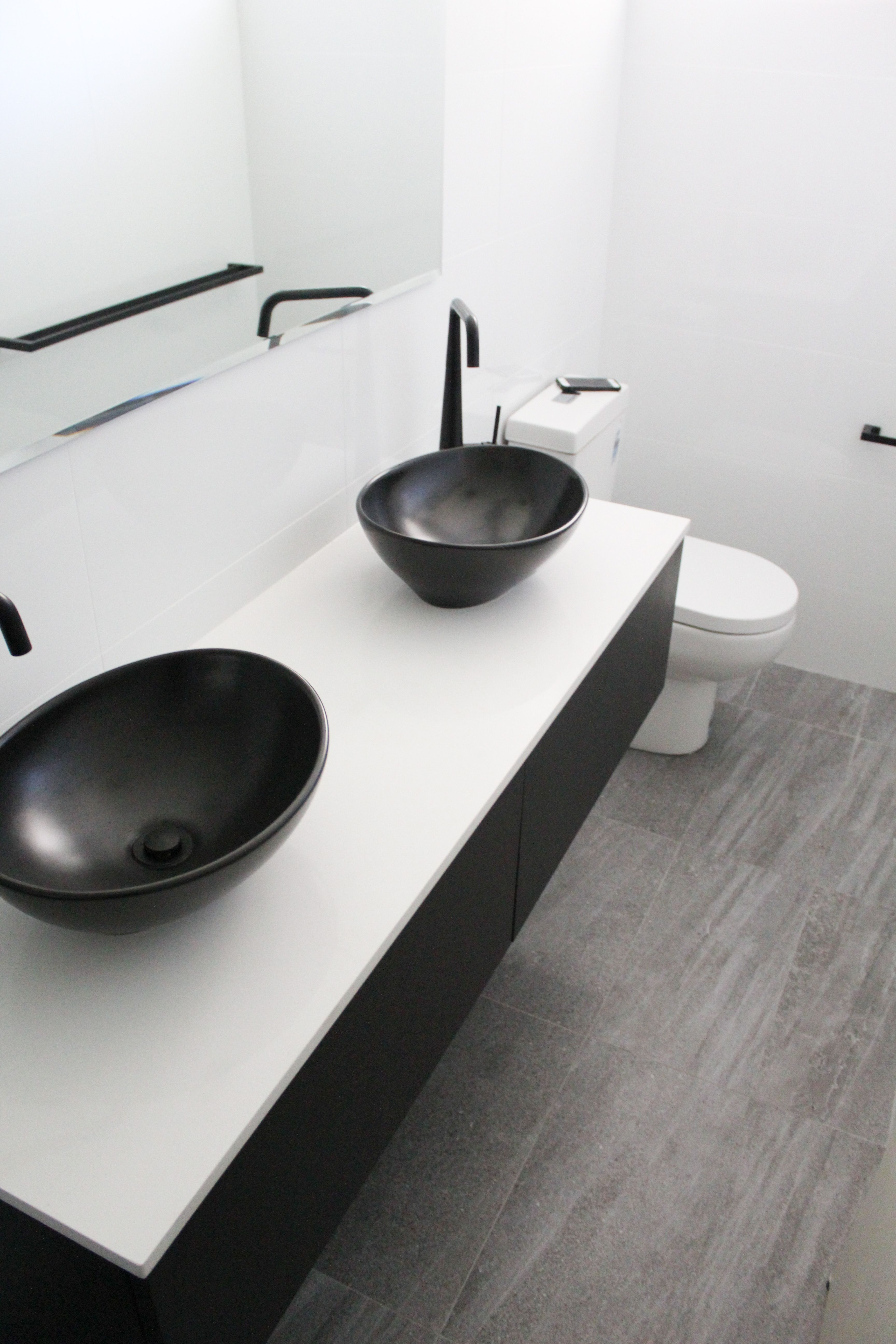 Small Ensuite Black Sinks Wall Hung Vanity White Benchtop Back To Wall Toilet On The