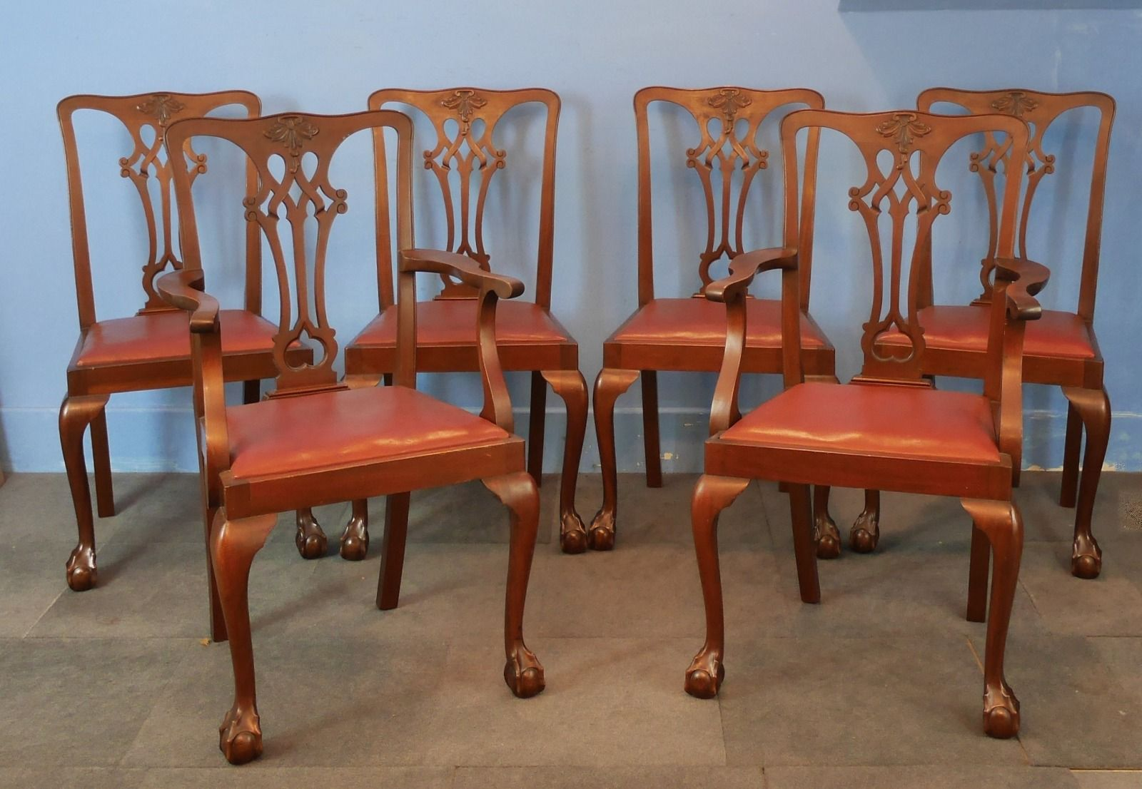 Set of Six Chippendale Style Mahogany Dining Room Chairs