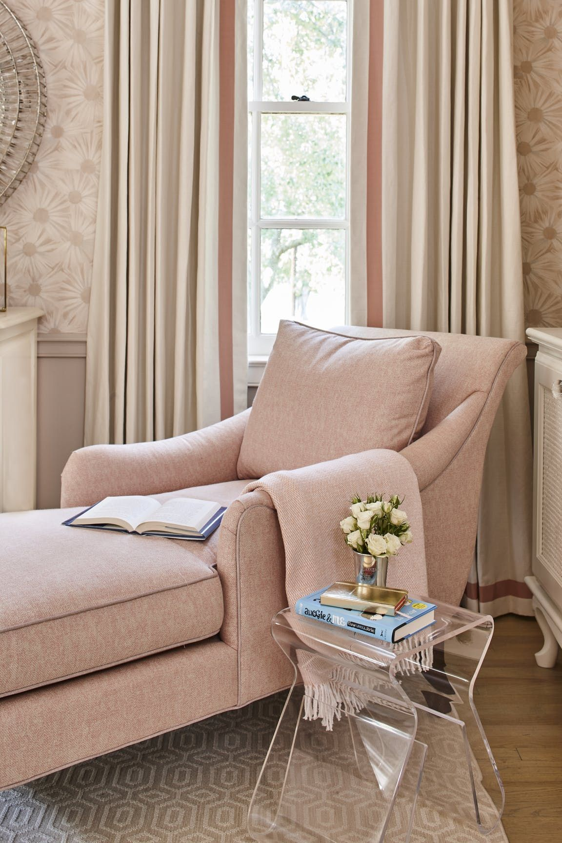 Girl S Room With Blush Chaise Lounge Chair And Soft Blush Wall Covering By Ashley Gilbreath Interior Des Lounge Chair Bedroom Chaise Lounge Chair Chaise Lounge
