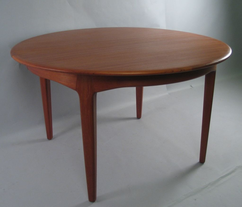 Danish Modern Round Teak Extension Dining Table By Soro Stole