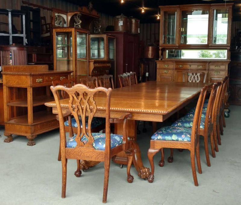 Antique Victorian Fancy Oak Dining Set 15 Pieces Table China