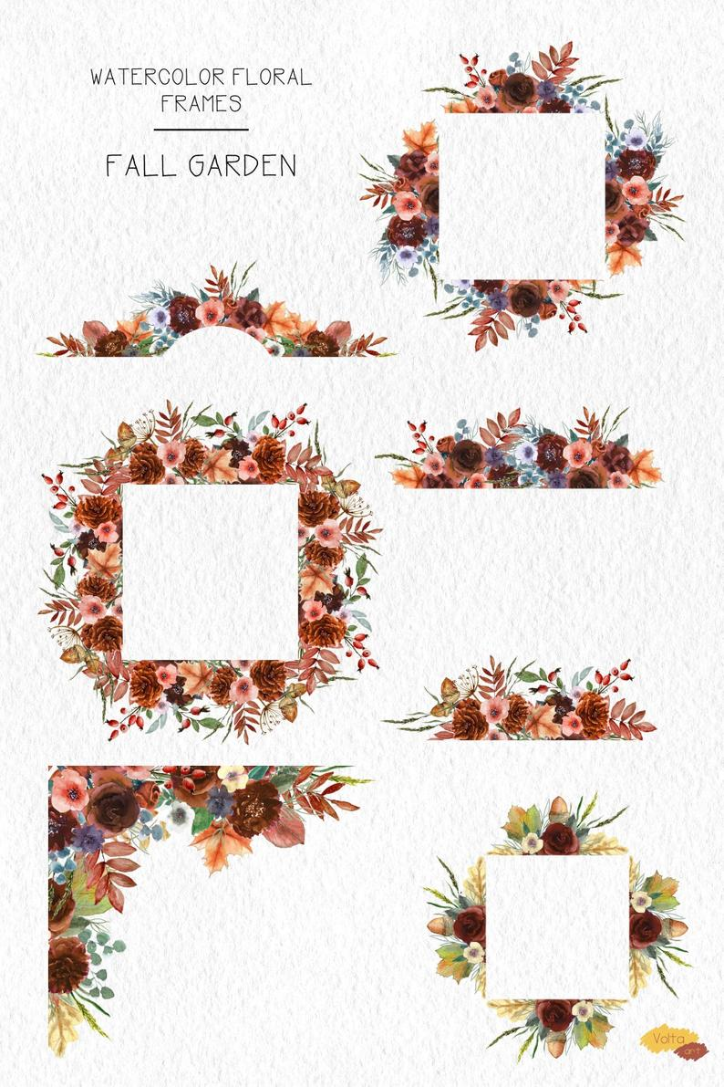 Watercolor Brown Orange Floral Frames Angle And Borders Leaves Berries Peony Hand Drawn Png Flowers Autumn Wedding Design Commercial Use Floral Wreath Watercolor Flower Frame Floral Watercolor