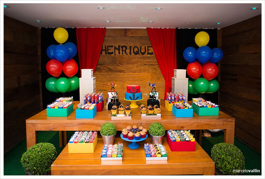 Decoracao Festa Infantil Aniversario De Power Ranger Decoracao