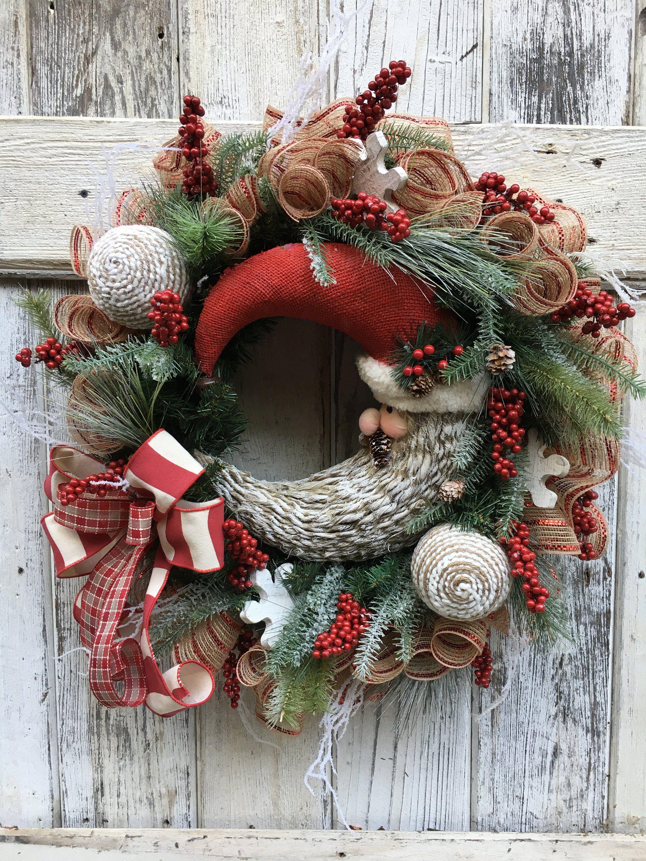 Rustic Christmas wreath, Farmhouse Christmas wreath, Santa