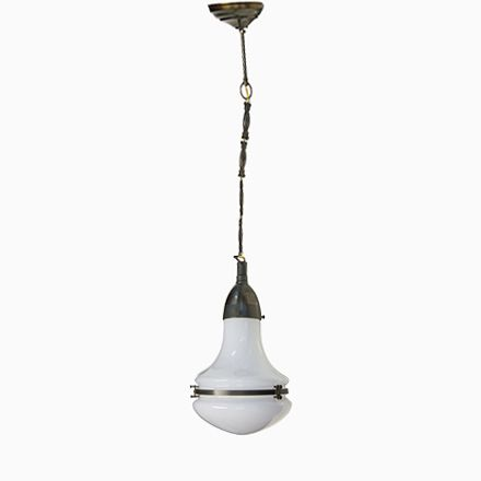 Vintage Milchglas Pendellampe von Peter Behrens für AEG Jetzt - deckenlampen für badezimmer