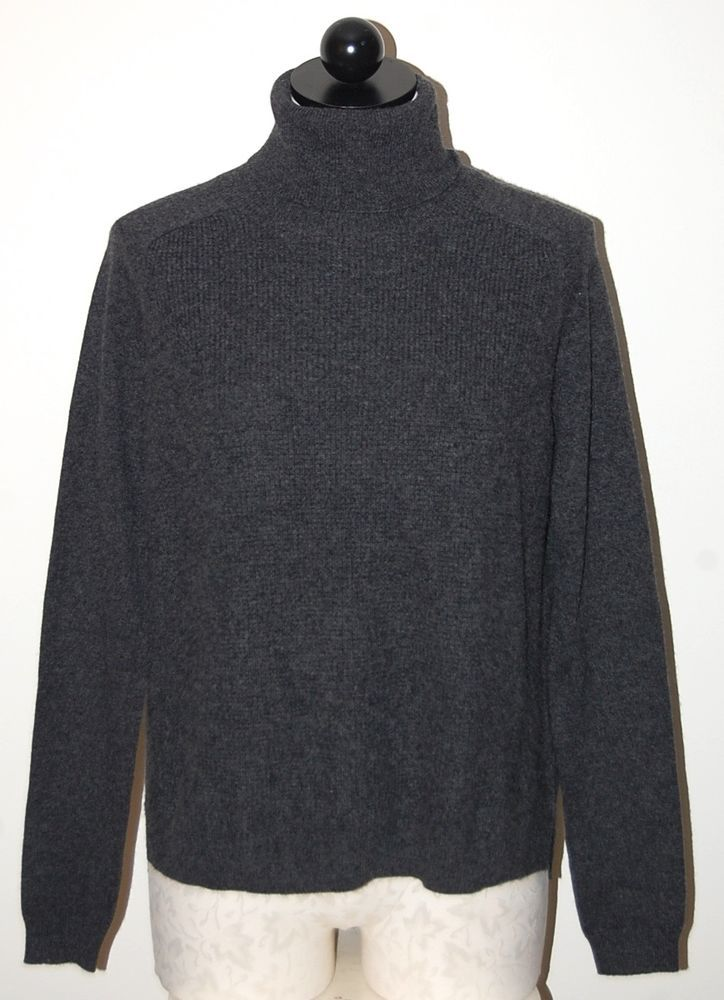 Theory 100% Cashmere Charcoal Gray Turtleneck Sweater S NEW NWT ...