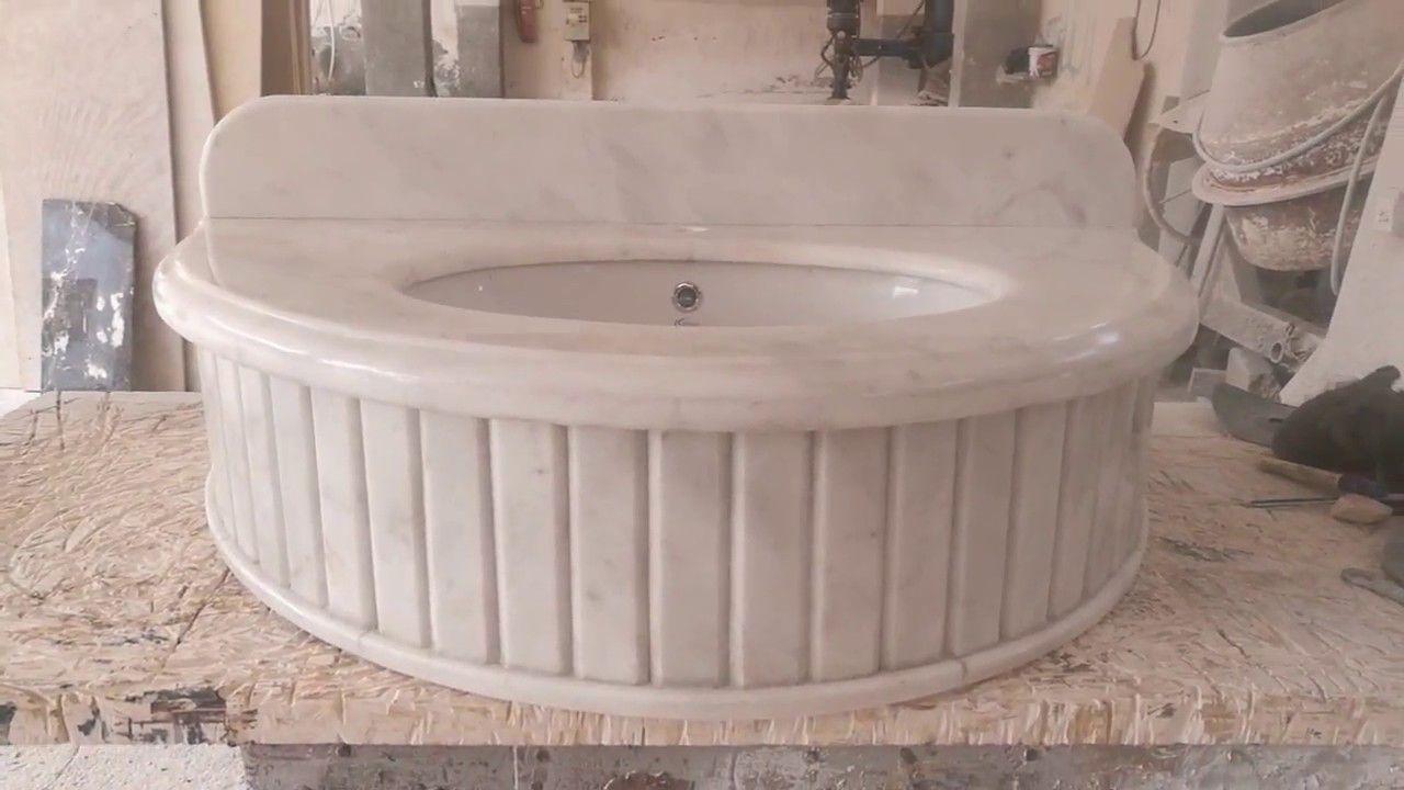 حوض حمام دائري رخام ابيض أفيون تركي Granite Marble Sink
