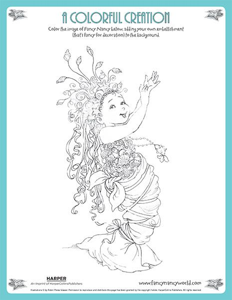A Colorful Creation Printable Coloring Sheet Fancy Nancy Printable Activities Mermaid Coloring Pages Fancy Nancy Party Fancy Nancy