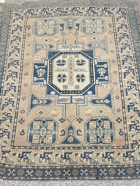 "Vintage Turkmen Tribal Salmon-Blue Rug (6'7"" x 5'6"") Feet 