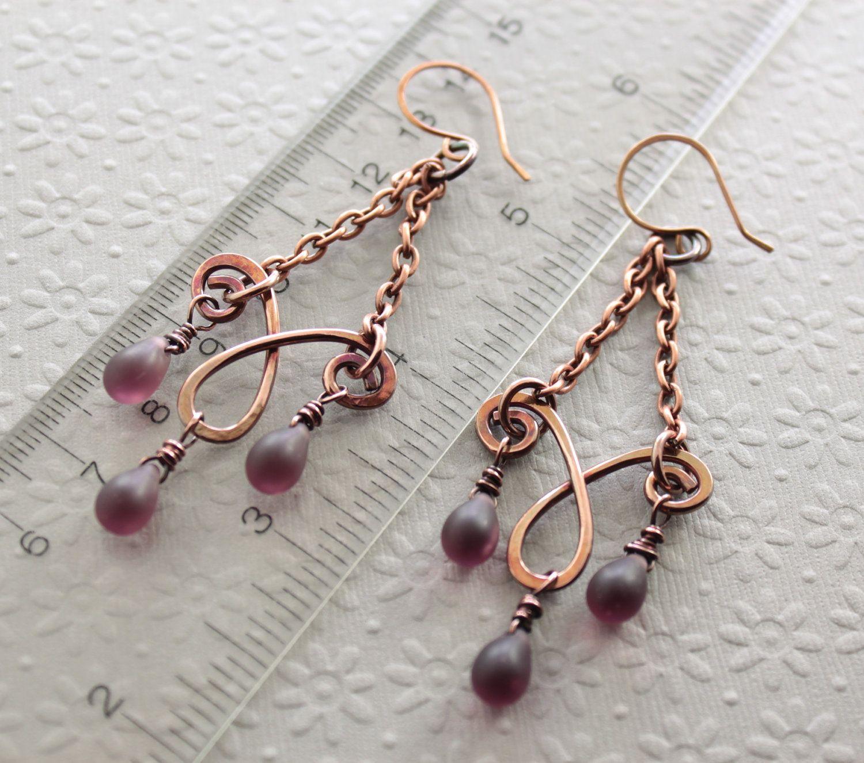 Matte amethyst copper chandelier earrings with Czech glass teardrops ...