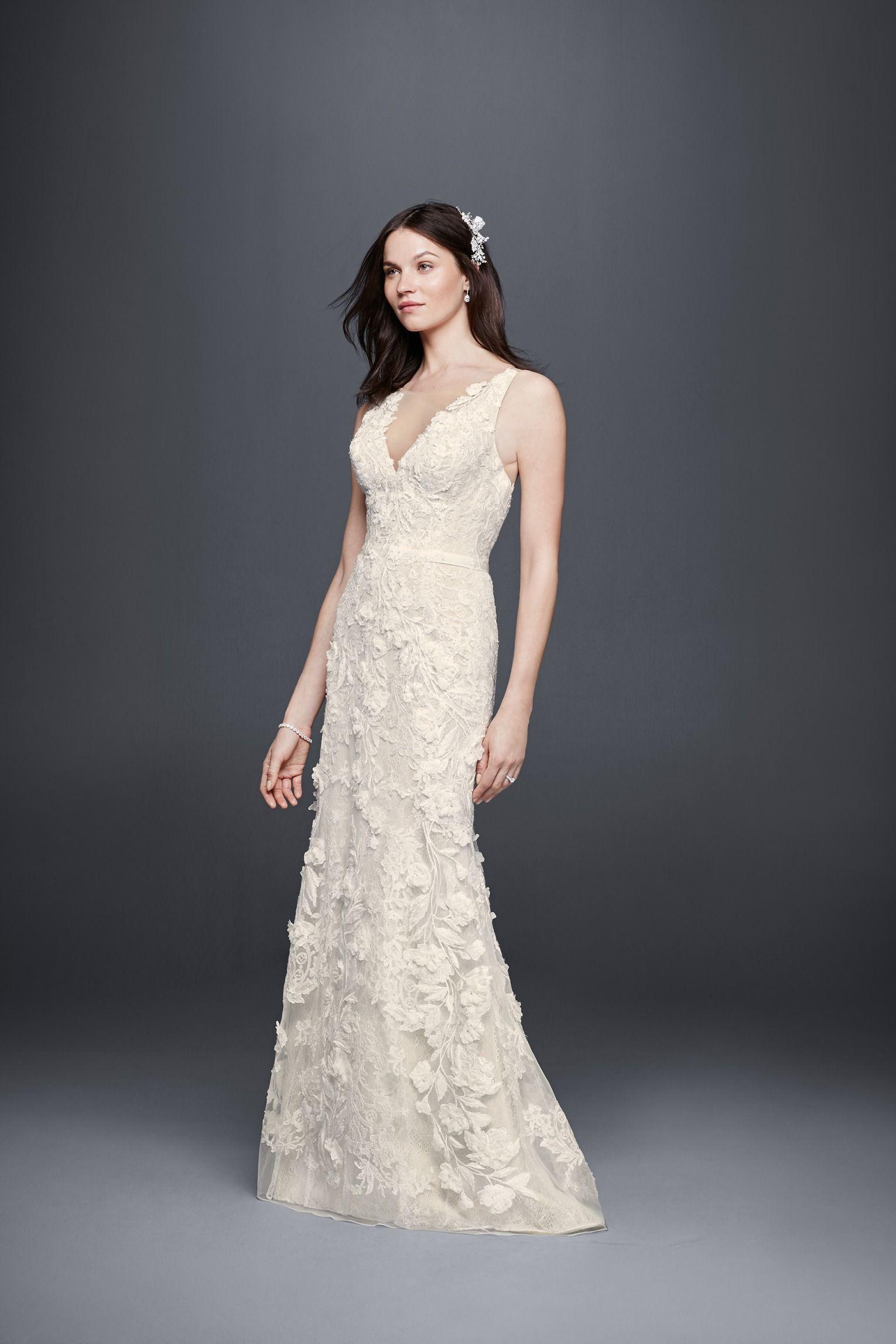 Priscilla of boston wedding dress  Priscilla of Boston Tank Sheath Wedding Dress with D Flowers