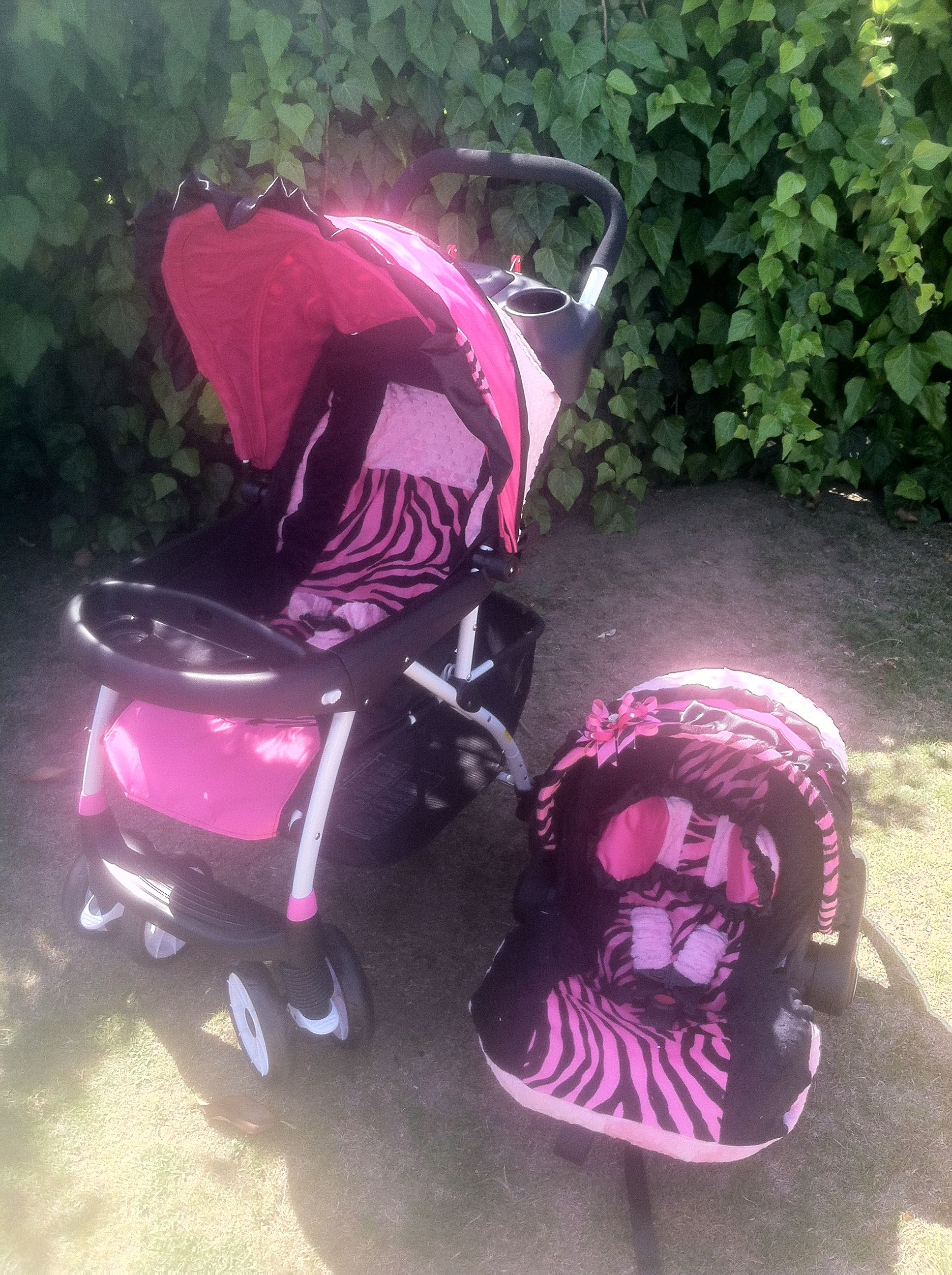 Hot pink & zebra infant car seat and stroller recovers