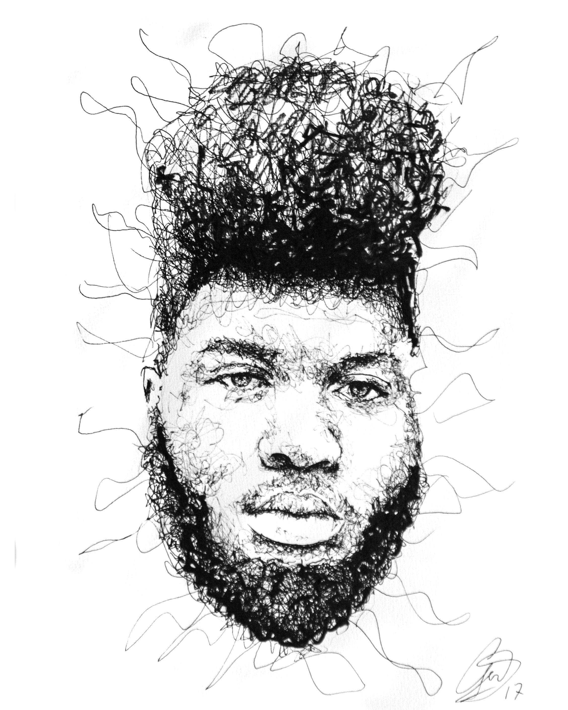 Khalid black and white portrait scribble art by gus romano drawing with a black pen scribble art young dumb and broke drawing best of